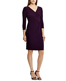 Petite 3/4-Sleeve Runched Jersey Dress