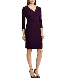 Lauren Ralph Lauren Petite 3/4-Sleeve Runched Jersey Dress