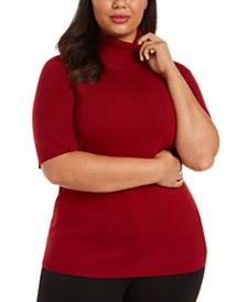 Anne Klein Plus Size Elbow-Sleeve Top