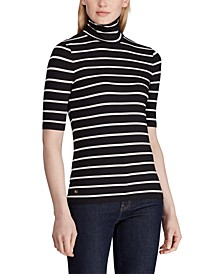Stripe-Print Stretch Turtleneck Top