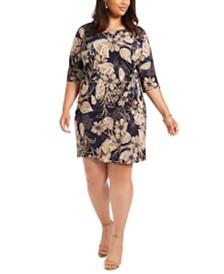 Robbie Bee Plus Size Printed Side-Tie Sarong Dress