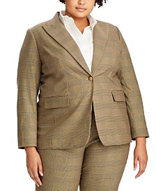 Lauren Ralph Lauren Plus Size Glen Plaid-Print Blazer