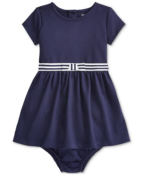 Polo Ralph Lauren Baby Girls Ponte Roma Bow Dress