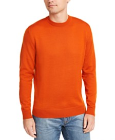 Club Room Men's Regular-Fit Solid Merino Crew Neck Sweater, Created for Macy's