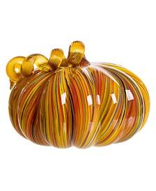 Glitzhome Striped Glass Large Pumpkin