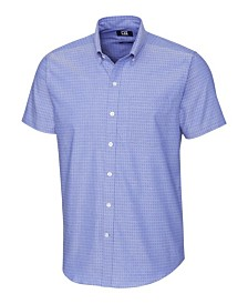 Cutter and Buck Men's Big and Tall Strive Three Bars Jacquard Short Sleeve Shirt
