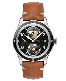 Men's Swiss Automatic 1858 Geosphere Brown Leather Strap Watch 42mm