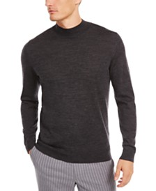 Tasso Elba Men's Solid Mock-Neck Merino Sweater, Created for Macy's