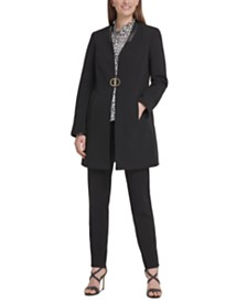 DKNY Petite Open-Front Topper Jacket With Faux-Leather Trim