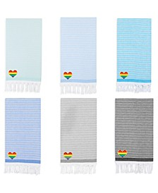 100% Turkish Cotton Soft Stripes Cheerful Rainbow Heart Pestemal Beach Towel