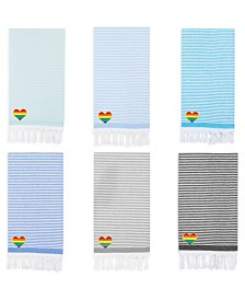 Linum Home 100% Turkish Cotton Soft Stripes Cheerful Rainbow Heart Pestemal Beach Towel