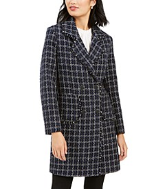 Double-Breasted Plaid Tweed Coat