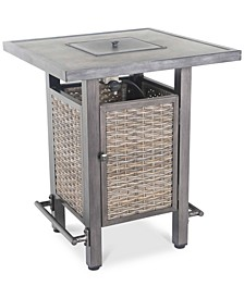 Cane Estates Aluminum Gathering Height Bar Table with Fire Pit
