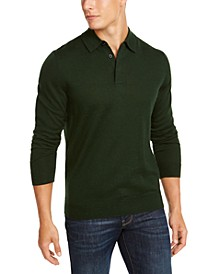 Men's Merino Wool Blend Polo Sweater, Created for Macy's
