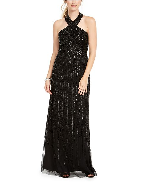 Adrianna Papell Petite Halter Beaded Gown