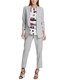 Ruched-Sleeve Open-Front Jacket & Skinny Pants