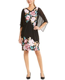 JM Collection Printed Capelet Sleeve Dress, Created for Macy's