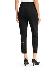 JM Collection Lace-Up Skinny Ankle Pants, Created for Macy's