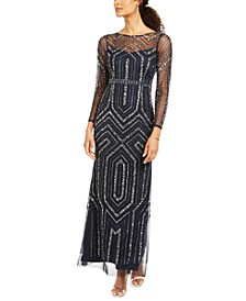 Long-Sleeve Mesh Sequin Gown