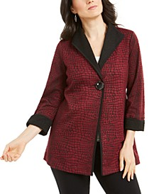 Petite Printed 3/4-Sleeve Jacket, Created for Macy's