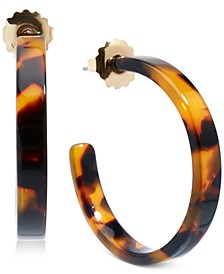 Medium Gold-Tone & Acetate Thin Open Hoop Earrings 1-1/4""