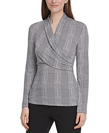 Houndstooth-Print Side-Ruched Top