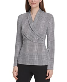 DKNY Houndstooth-Print Side-Ruched Top