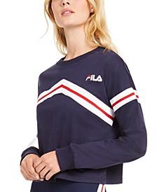 Aja Cotton Zigzag Long-Sleeve Cropped T-Shirt