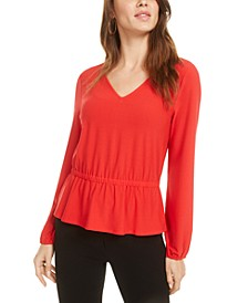 Bar-Back Peplum Top, Created for Macy's