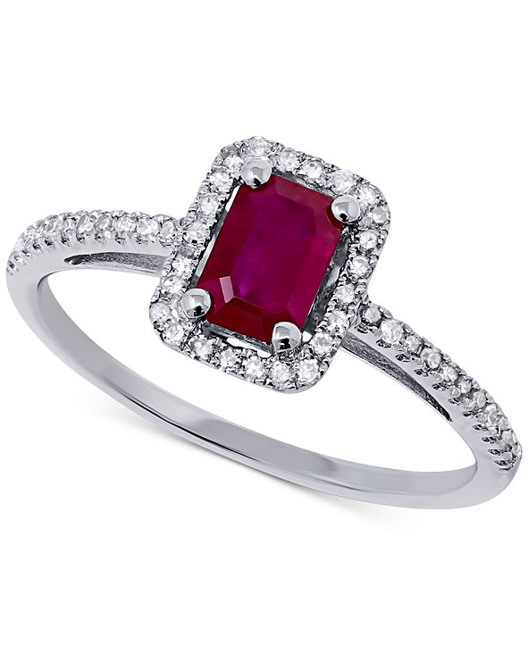 Macy's Certified Ruby (5/8 ct. t.w.) & Diamond (1/5 ct. t.w.) Ring in 14k White Gold
