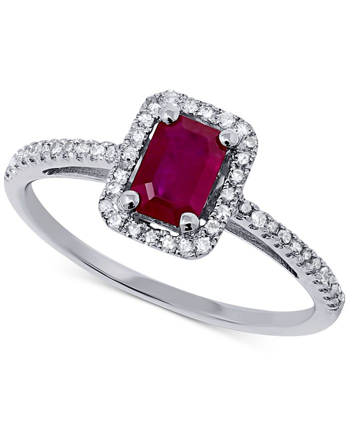 Macy's - Certified Ruby (5/8 ct. t.w.) & Diamond (1/5 ct. t.w.) Ring in 14k White Gold