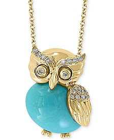 """EFFY® Manufactured Turquoise & Diamond (1/10 ct. t.w.) Owl 18"""" Pendant Necklace in 14k Gold"""