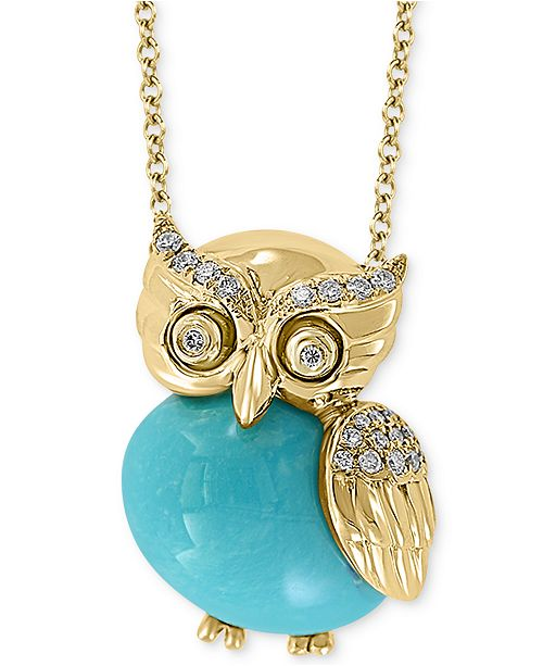 """EFFY Collection EFFY® Genuine Turquoise & Diamond (1/10 ct. t.w.) Owl 18"""" Pendant Necklace in 14k Gold"""
