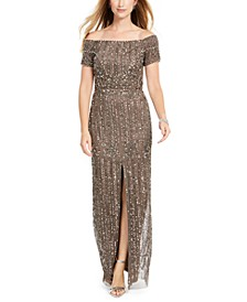 Off-The-Shoulder Beaded Gown, Regular & Petite Sizes