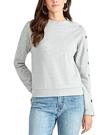 Snap-Sleeve Crewneck Sweatshirt