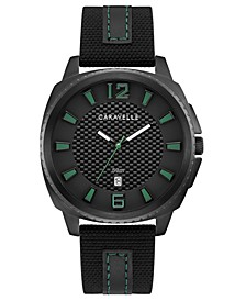 Men's Black Nylon & Leather Strap Watch 41mm