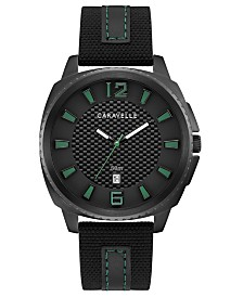 Caravelle Designed By Bulova Men's Black Nylon & Leather Strap Watch 41mm
