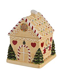Christmas Tree Gingerbread House Candy Jar
