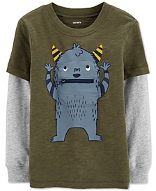 Toddler Boys Monster-Print Layered-Look Cotton T-Shirt