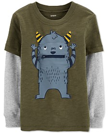 Carter's Toddler Boys Monster-Print Layered-Look Cotton T-Shirt