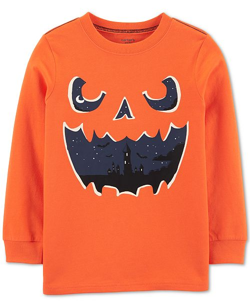 Carter's Little & Big Boys Jack-O'-Lantern-Print Glow-In-The-Dark Cotton T-Shirt
