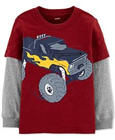 Toddler Boys Monster Truck-Print Zipper Layered-Look Cotton T-Shirt