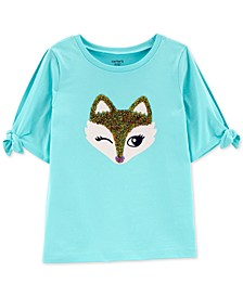 Little & Big Girls Fox-Print Split-Sleeve Cotton T-Shirt