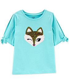 Carter's Little & Big Girls Fox-Print Split-Sleeve Cotton T-Shirt