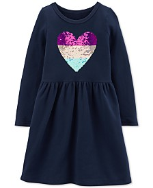 Carter's Little & Big Girls Sequin-Heart Cotton Dress