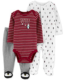 Baby Boys 3-Pc. Cotton Penguin Bodysuit, Footed Coverall & Footed Pants Set