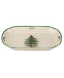 Christmas Tree Rectangular Scalloped Tray