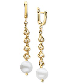 EFFY® Cultured Freshwater Pearl (3-1/2mm & 9-1/2mm) Drop Earrings in 18k Gold-Plated Sterling Silver