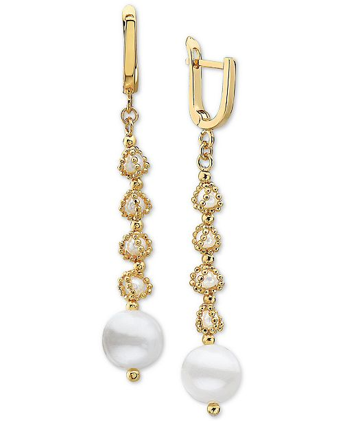 EFFY Collection EFFY® Cultured Freshwater Pearl (3-1/2mm & 9-1/2mm) Drop Earrings in 18k Gold-Plated Sterling Silver