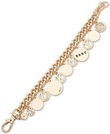 DKNY Gold-Tone Crystal & Disc Logo Charm Bracelet